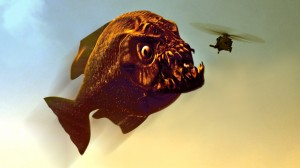 Piranha eating helicopter