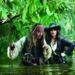 Captain Jack (Johnny Depp) with Angelica (Penélope Cruz)