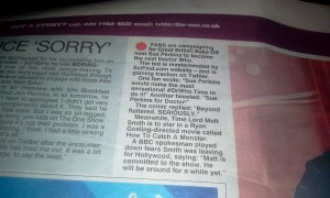 The Sun Newspaper 13th Feb 2013.