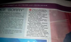 The Sun Newspaper 13th Feb 2013.
