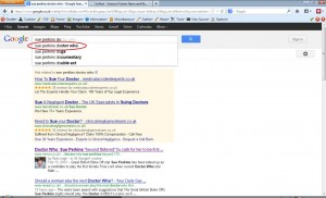 """Google now shows """"Sue Perkins Doctor Who"""" as a predictive search - Added 5th March 2013"""