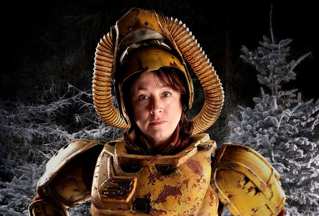 Arabella Weir on set in the Doctor Who Christmas special Photo: BBC/ Adrian Rogers