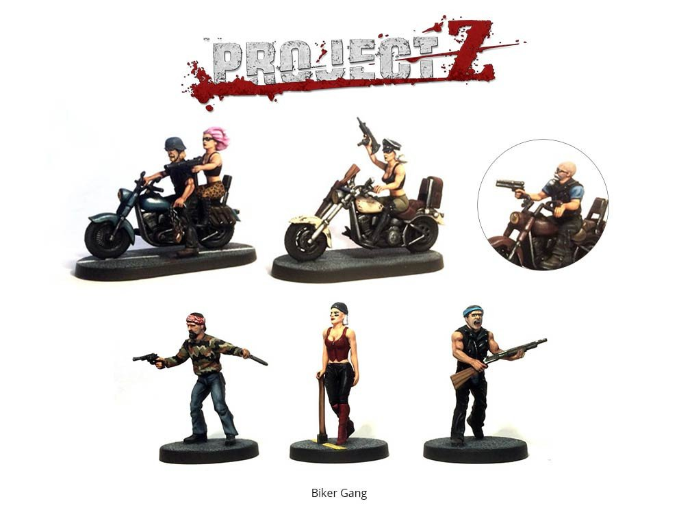 Project Z Biker Gang Shown Painted. Supplied Unpainted