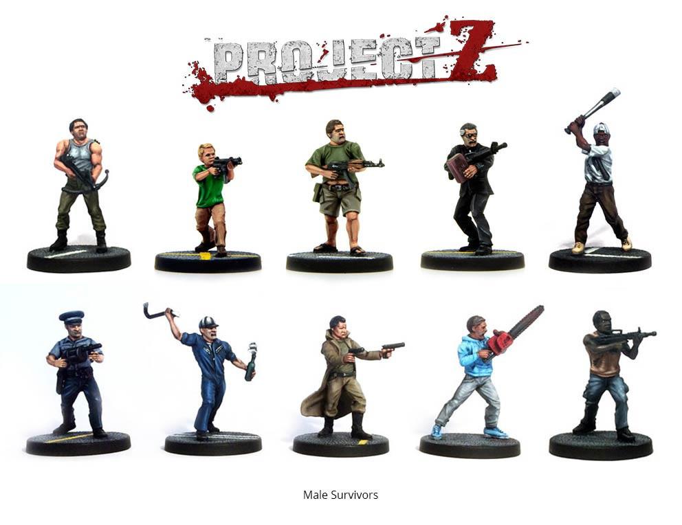 Project Z Survivors Shown Painted. Supplied Unpainted
