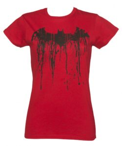 Women's Red Batman Graffiti Logo T-Shirt