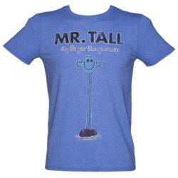 Men's Heather Blue Mr Tall Mr Men T-Shirt