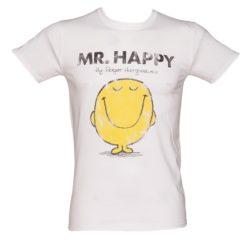 Men's White Mr Happy Mr Men T-Shirt