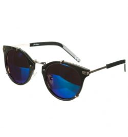 Black Frame Blue Mirror Lens Round Sunglasses from Jeepers Peepers