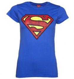 Women's Blue Distressed Superman Logo T-Shirt