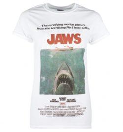Women's White Jaws Movie Poster Boyfriend T-Shirt