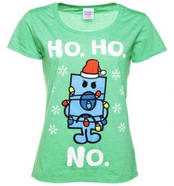 Womens Mr Grumpy Ho Ho No Heather Green Scoop Neck T-Shirt